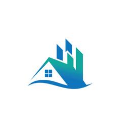 Home wave business real estate logo vector