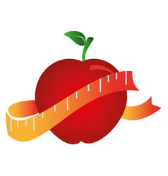 Silhouette color with apple and measuring tape vector
