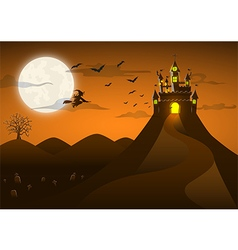 Spooky ghost castle on the hill with full moon vector image vector image