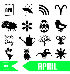 april month theme set of simple icons eps10 vector image