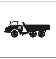 Black silhouette of a dump truck vector image vector image