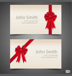 card ribbon with a bow vector image vector image