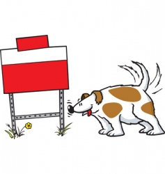 dog and sign vector image vector image