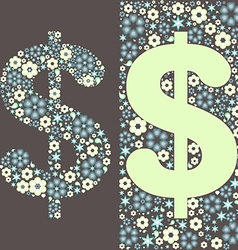 dollar floral pattern vector image vector image
