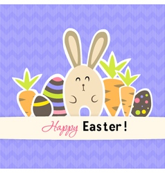 Easter purple card with carrots and rabbit vector image vector image