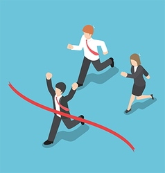Isometric design businessman winning competition vector image