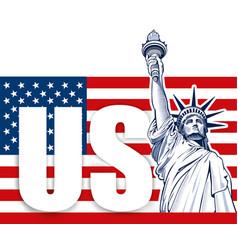 liberty statue nyc usa symbol usa flag vector image vector image