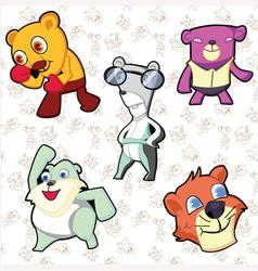 Lion And Bear teddy cartoon on out line vector image