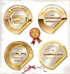 Set of golden PREMIUM quality labels vector image