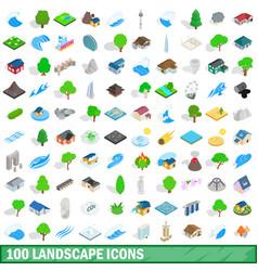 100 landscape icons set isometric 3d style vector