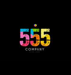 555 number grunge color rainbow numeral digit logo vector image