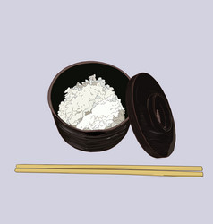 A rice bowl and chopstick vector