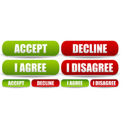 Accept decline and agree disagree button set vector