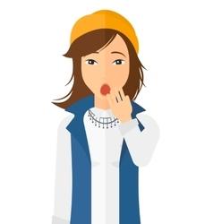 Apathetic young woman yawning vector