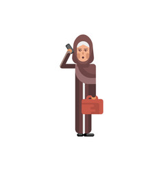 arabic woman with bag talking on smartphone vector image