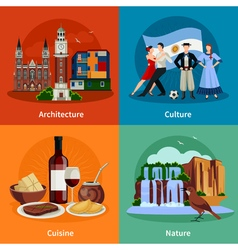 Argentina attractions 4 flat icons square vector