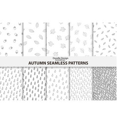 autumn seamless patterns hand drawn design vector image