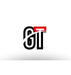 Black white alphabet letter gt g t logo icon vector