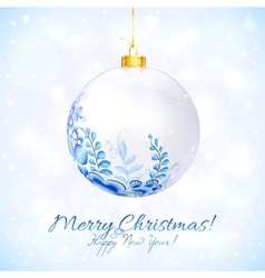 Blue and white Christmas ball with floral ornament vector image