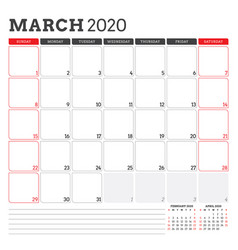 Calendar planner for march 2020 week starts on vector