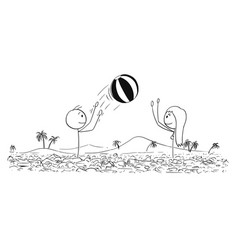 cartoon of man and woman playing with inflatable vector image