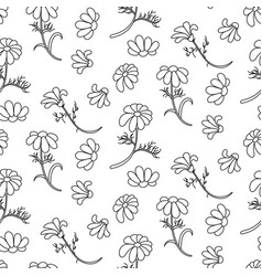 Chamomile outline seamless floral pattern vector