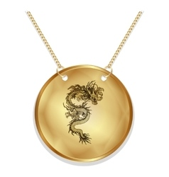Chinese dragon on a gold disk vector image