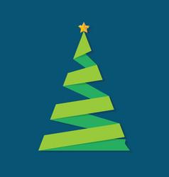 christmas tree ribbon greeting card vector image