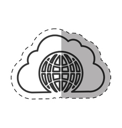Cloud globe connected technology thin line vector