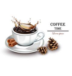 coffee splash realistic fresh drink vector image