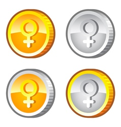 Coins with female sig vector