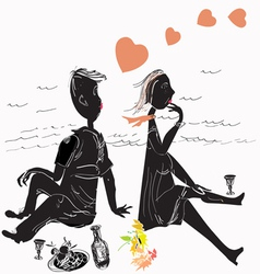 couple on picnic vector image