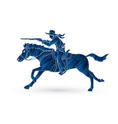 Cowboy riding horseaiming rifle vector