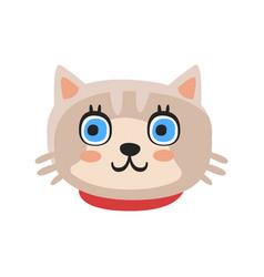 cute gray kitten head funny cartoon cat character vector image