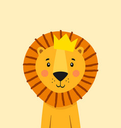 Cute lion with crown poster for baby room vector