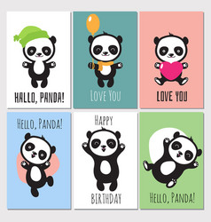 cute panda kids invitation cards vector image