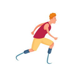 Cute red hair young man with amputated legs vector