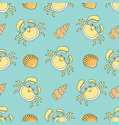 Cute seamless patterns with crab and shells vector