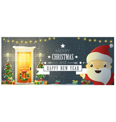 Decorated christmas front door and santa claus vector