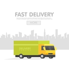 Delivery car and set of cardboard boxes vector image