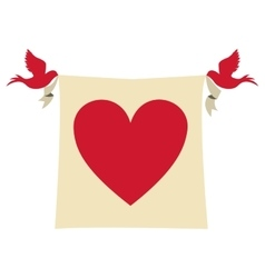 Doves with pennat with heart icon vector