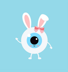 Easter cute eye ball with bunny ears icon vector