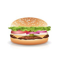 fast food realistic popular burger photo vector image