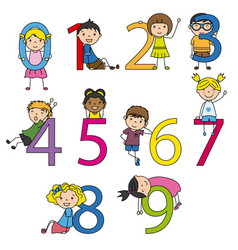 funny children with numbers from 0 to 9 vector image