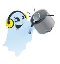 Funny white spook knocking ladle on pan vector
