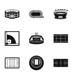 Game at stadium icons set simple style vector