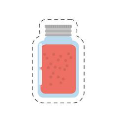 Glass jar juice cut line vector