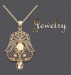 gold pendant with filigree and precious stone vector image