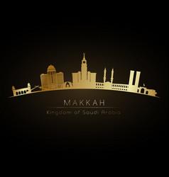 Golden logo makkah skyline silhouette vector