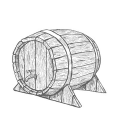 hand drawing wood barrel in white vector image